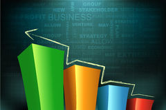 Bar graph. Illustration of bar graph on abstract business background Stock Photo