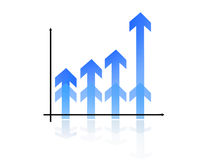 Bar Graph. Blue Bar Graph with reflexion pointing up Royalty Free Stock Photo