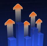 Bar graph. With arrows racing upward.  Bars are at different levels Stock Images