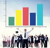 Bar Graph Analysis Achievement Improvement Strategy Success Conc Stock Image