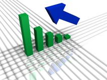 Bar graph and arrow. A bar graph on a grid and an arrow pointing up Royalty Free Stock Photo