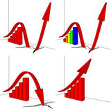 Bar graph with an arrow. Illustration of Bar graphs with different  arrows Royalty Free Stock Photography