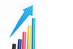 Bar graph with arrow Royalty Free Stock Photo