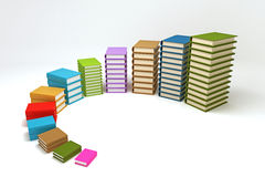 Bar Graph of Book. 3d image of pile of colorful book forming bar graph Royalty Free Stock Images