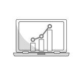 Bar graph chart icon image. Bar graph chart on computer screen  icon image  illustration design Stock Photography