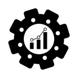 Bar graph chart icon image. Bar graph chart inside gear icon image  illustration design Stock Images