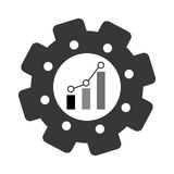 Bar graph chart icon image. Bar graph chart inside gear icon image  illustration design Royalty Free Stock Photos