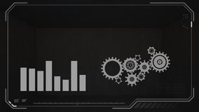 Bar graph and cog wheels. A screen view of fluctuating bar graph and moving cog wheels icon in black background royalty free illustration