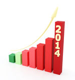 2014 bar graph. 3d rendered illustration. Growing bar graph for the year 2014 vector illustration
