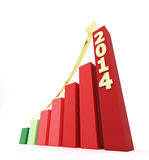 2014 bar graph. 3d rendered illustration. Growing bar graph for the year 2014 stock illustration