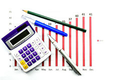 Bar graph data and calculator Stock Photo