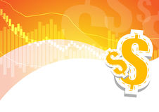 Bar graph and dollar signs on orange and white backgrou Royalty Free Stock Images