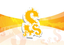 Bar graph and dollar signs on orange and white backgrou Stock Photos
