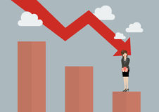 Bar graph down with desperate business woman Stock Images
