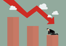 Bar graph down with desperate businessmen. Business concept Stock Images