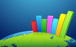 Bar Graph on Earth Stock Photography