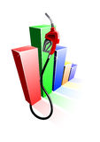 Bar graph of fuel prices with gas pump nozzle Stock Image