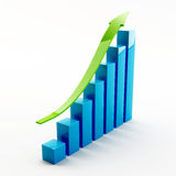 Graph. Bar graph and green arrow on white background Royalty Free Stock Images