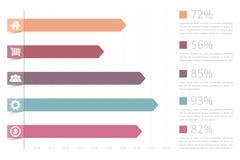 Bar Graph. Horizontal bar graph template with icons Stock Photography