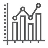 Bar Graph line icon, growth and chart. Histogram sign, vector graphics, a linear pattern on a white background, eps 10 Royalty Free Stock Image
