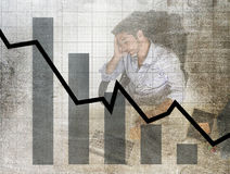 Bar graph of low sales and bankrupt prevision grunge dirty composite design with tired frustrated businessman Stock Photos