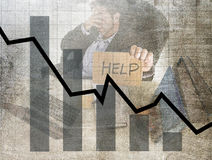 Bar graph of low sales and bankrupt prevision grunge dirty composite design with tired frustrated businessman Stock Photography