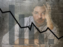 Bar graph of low sales and bankrupt prevision grunge dirty composite design with tired frustrated businessman Stock Photo