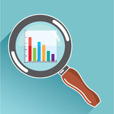 Bar Graph in Magnifying Glass Vector. File eps Royalty Free Stock Image
