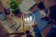 Bar Graph Marketing Analyzing Growth Increase Concept.  Royalty Free Stock Photos