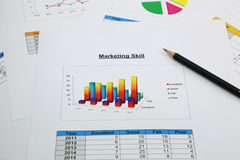 Bar graph of marketing skill with black pencil Royalty Free Stock Image