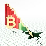 Bitcoin currency bar graph going down. Bar graph and moving down arrow with bitcoin symbol. 3d rendered illustration Stock Photos