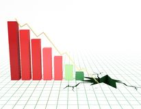 Financal bar graph going down. Bar graph and moving down arrow. 3d rendered illustration Royalty Free Stock Photography