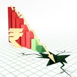Indian rupee currency bar graph going down. Bar graph and moving down arrow with Indian rupee currency symbol Royalty Free Stock Photo