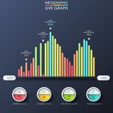 Bar graph, multicolored columns placed on horizontal axis with year indication, thin line symbols, percentage. Infographic design template. Vector illustration Royalty Free Stock Image