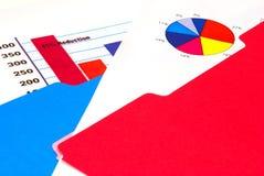 Bar graph and pie chart. A bar graph, pie chart in a folder Stock Photo