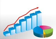 Bar graph and pie chart. Illustrated bar graph with arrow going up and a colored pie chart Stock Photo