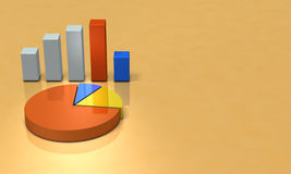 Bar graph and pie chart. Background image. Royalty Free Stock Image