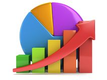 Bar graph with red arrow and pie chart Stock Photo