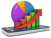 Bar graph with red arrow and pie chart on smartphone. 3d colored bar graph with red arrow growing up and pie chart on smartphone. Mobile apps concept. 3D render Stock Images