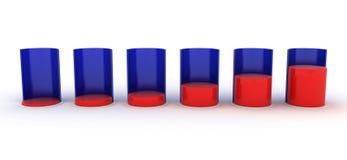 Bar Graph. red and blue. Bar Graph red and blue. 3D render Royalty Free Stock Photos