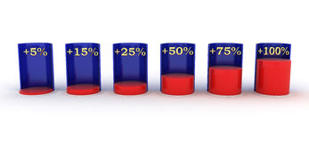 Bar Graph. red and blue. plus interest. 3D graph for infographic. plus interest. red and blue stock illustration
