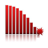 Bar graph. Red bar graph on white background (down stock illustration