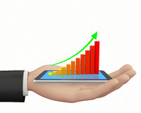 Bar Graph. Rising Bar Graph 3d rendering Stock Photos