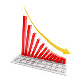 Bar graph showing falling trend, 3d render Royalty Free Stock Image