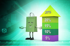 Bar graph showing growth with shopping bag Royalty Free Stock Photo