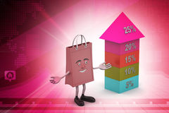 Bar graph showing growth with shopping bag Royalty Free Stock Images