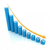 Bar graph showing recession trend. 3d render, white background Royalty Free Stock Image