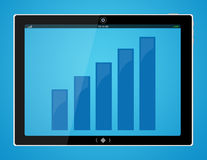 Bar graph on tablet computer. Illustration of bar graph on tablet or pad computer screen in blue and black royalty free illustration