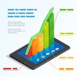 Bar graph on a tablet touchscreen. Colorful ascending 3d bar graph on a tablet touchscreen depicting mobile online analytics with a text box template  vector Royalty Free Stock Images