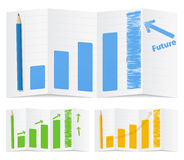 Bar graphs. Illustration of growing bar graphs with arrows Stock Photos